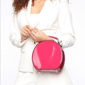 Patent leather pink circle bag